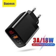 Baseus cargador USB tipo C de 18W para iPhone 11 Pro Max, carga rápida 3,0 PD3.0, FCP AFC, Huawei y Samsung
