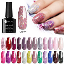 Azúcar ur 7,5 ml brillo holográfico UV Gel pulidor de uñas brillante lentejuelas remojo de UV Gel barniz colorido arte uñas Gel laca DIY(China)