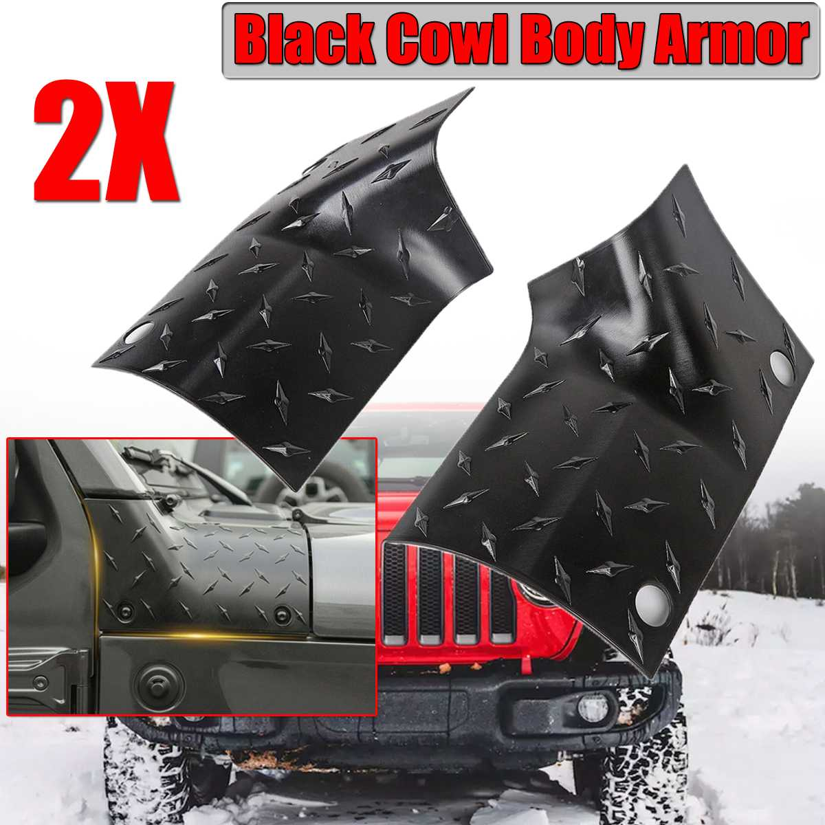 A Pair ABS Black Car Sticker Side Front Cowl Body For Armor Outer Cowling Cover For Jeep For Wrangler JL JLU 2018 2019