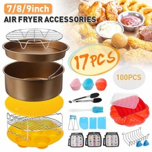 Tray-Rack Pizza-Pan Air-Fryer-Accessories 17pcs Grill-Pot Frying-Cage Cooking-Tools Dish-Baking