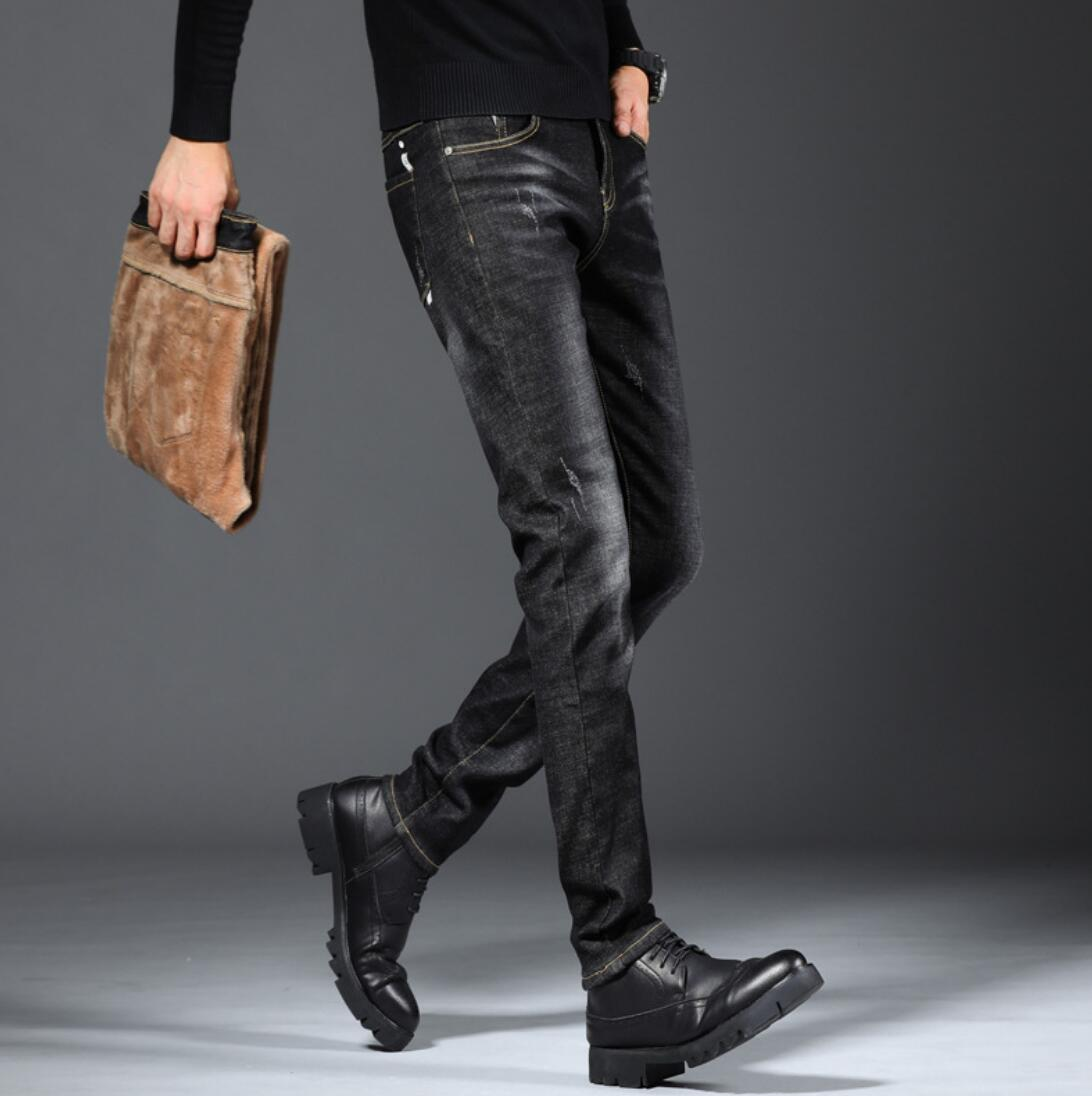 Men's Autumn Plus Velvet Jeans Maa1  Winter Stretch Slim Feet Men's Pants Casual Trousers Autumn And Winter Models AGG31-17