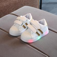 Hook-Loop LED Lighted Comfortable Sports Children Girls Boys Casual Shoes Tennis