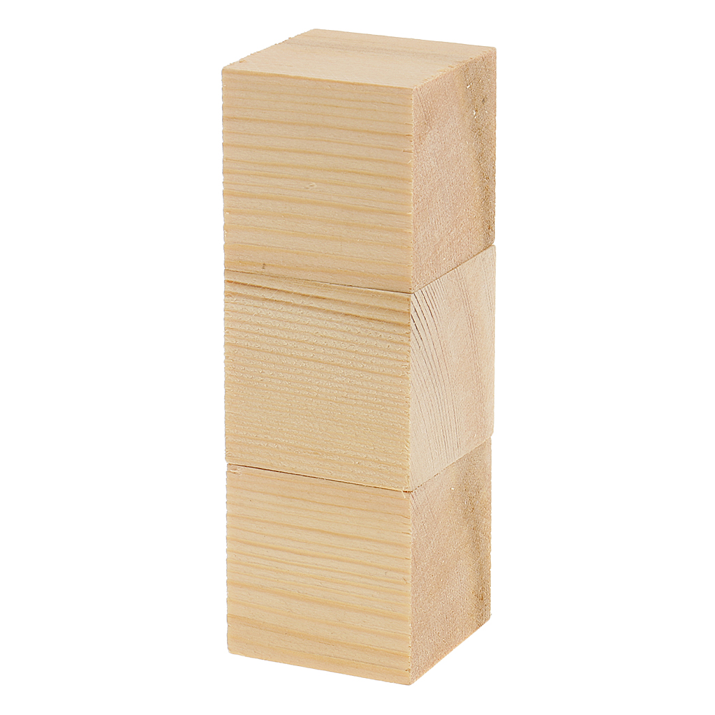 Natural Wood Cube Blocks Unfinished Wooden Cubes For Hobbies Model Making Craft