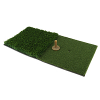 Portable Golf Mat 24'' X 12'' Replacement Practice Training Hitting Grass Pad & Rubber Tee Holder Indoor Outdoor Golf Trainning