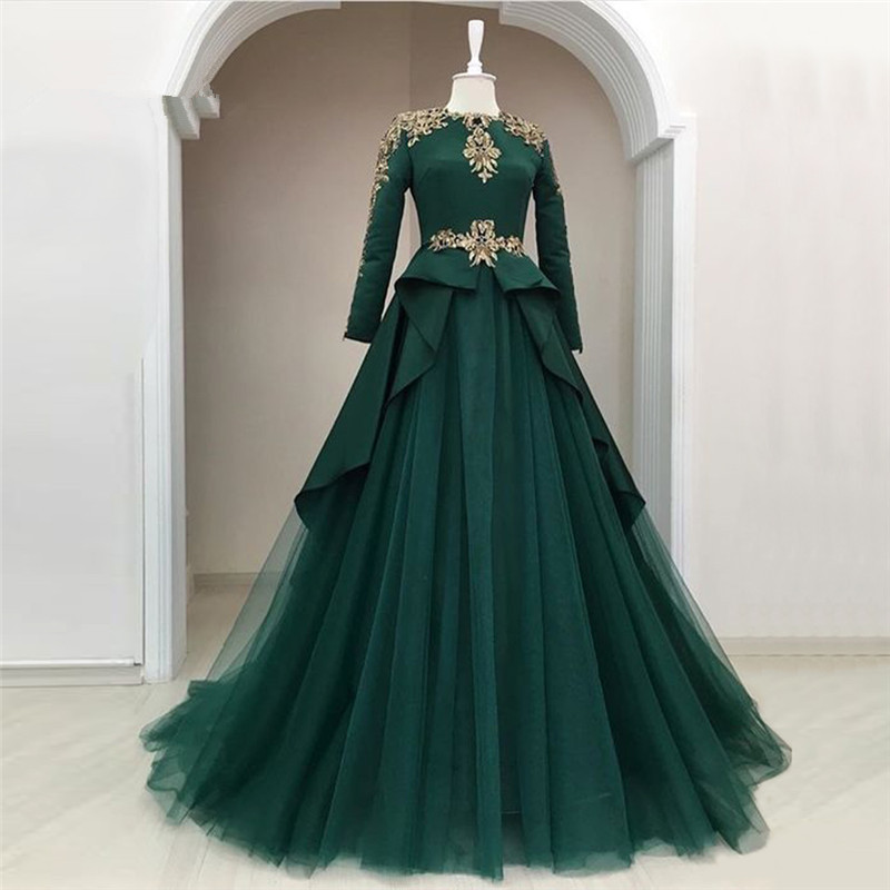 Green 2019 Muslim   Evening     Dresses   A-line High Collar Long Sleeves Tulle Appliques Dubai Saudi Arabic Long   Evening   Gown Prom
