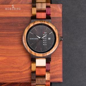 Image 2 - Bobo pássaro casal relógio de luxo marca madeira relógios semana data exibição quartzo relógios para homens feminino ótimo presente dropshipping oem