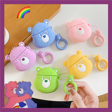 Fashion Lovely Korea 3D Cartoon Care Bears Cute Silicone For Apple Airpods2 Case Candy Color Wireless Earphone Cases With Straps