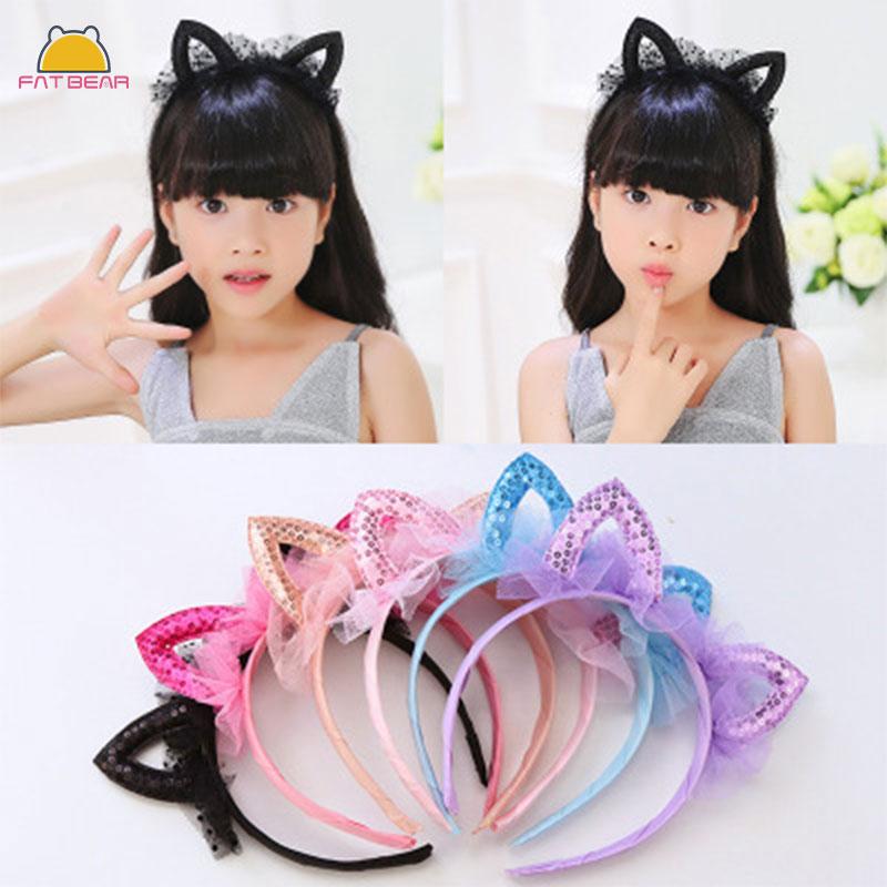 Fashion Lace Cat Ears Headband Colorful Lovely Sequin Handmade Hair Bands Cartoon Headband Kids Girls Childern Hair Accessories
