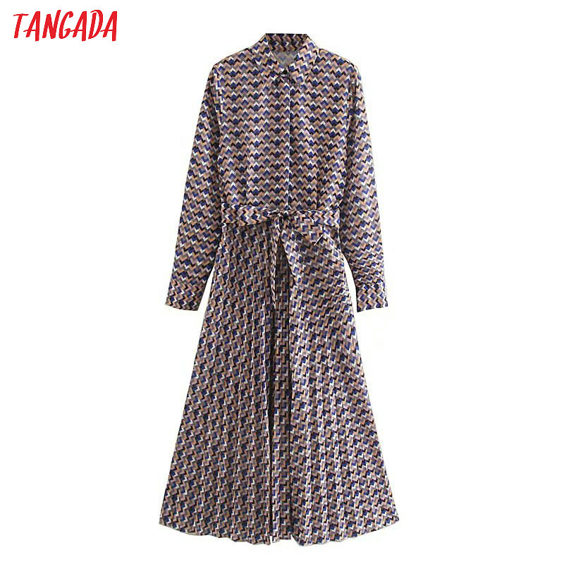 Tangada Fashion Women Wave Print Shirt Dress With Belt Long Sleeve Office Ladies Work Midi Dress Vestidos 5Z102