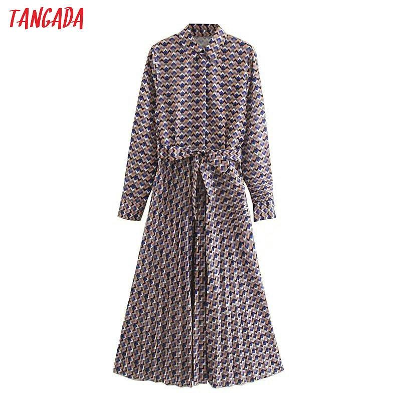 Tangada Fashion Women Wave Print Shirt Dress With Belt Long Sleeve Office Ladies Work Midi Dress Vestidos 5Z102