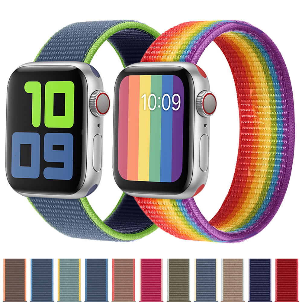 Strap For Apple Watch Band 44 Mm 40mm Breathable Nylon Sport Loop Watchband Wrist Bracelet Iwatch Band 38mm 42mm Series 5 4 3 2