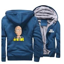 One Punch Man Hoodies 사이 타마 Streetwear 일본 애니메이션 남성 운동복 2019 겨울 지퍼 코트 캐주얼 플리스 따뜻한 남성 자켓