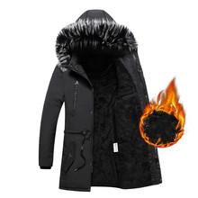 Wysokiej jakości mężczyźni parki ciepła kurtka zimowa mężczyźni moda Parka męskie płaszcze polarowe męska casualowa kurtka moda parki z kapturem L-3XL tanie tanio FAVOCENT Silk-jak Bawełna COTTON Poliester REGULAR Grube 20190917 Batik zipper Hat odpinany Luźne Kieszenie Stałe Długi