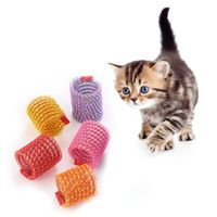 5 Pcs Cute Cat Spring Toys Wide Plastic Colorful Springs Toy Playing Pet Accessories Set