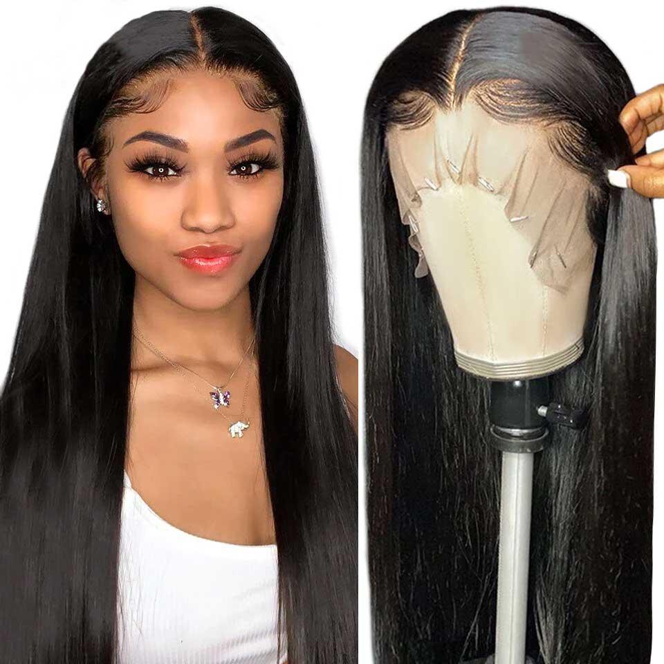 Transparente barato pelucas de encaje 180 densidad 30 32 pulgadas hueso recto pelucas de cabello humano T parte peluca largo cabello brasileño pelucas para mujeres