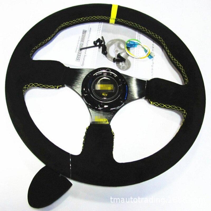 العالمي 14 بوصة 350 مللي متر OP الانجراف الرياضة عجلة القيادة جلد الغزال عجلة القيادة s