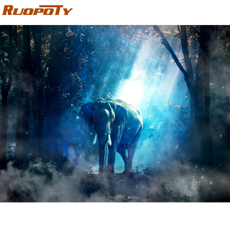 RUOPOTY Frame DIY Painting By Numbers Kit Elephant Animals Paint By Numbers Modern Wall Art Picture For Home Decor Artwork 60x75