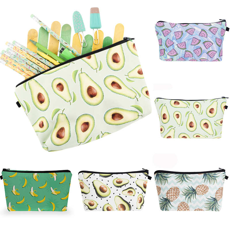 Cartoon Watermelon Avocado Fruits Printing Pattern Makeup Bag Portable Travel Women Cute Pouch Cosmetic Zipper Bag