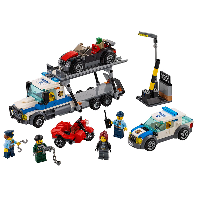 New City Police Series Auto Transport Heist Building Blocks Trail Car Model Bricks Toys With Legoinglys Christmas 60143