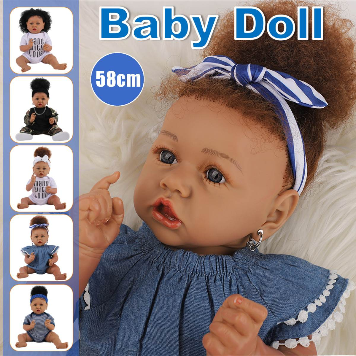 Princesa 58cm 23 polegada reborn bebê boneca cheia de silicone onda cabelo reborn bonecas do bebê artesanal banho jogar brinquedo à prova dwaterproof água presente para o miúdo
