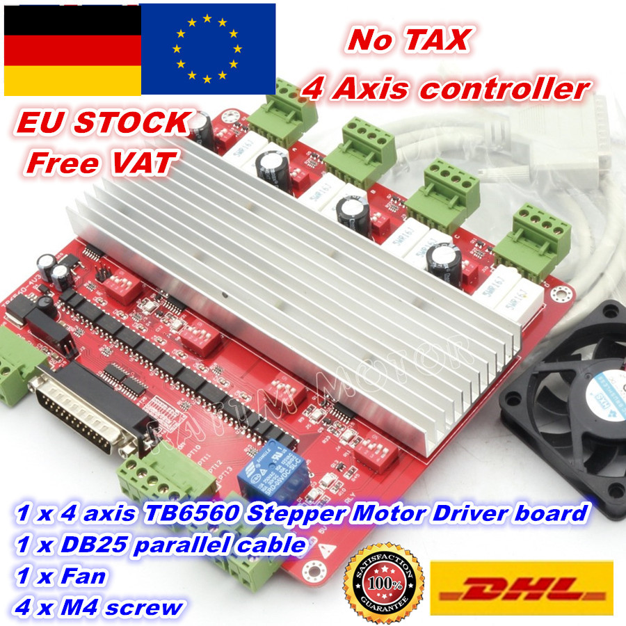[EU STOCK/FREE VAT]4 Axis CNC controller TB6560 stepper motor driver board V type High speed Optocoupler &DB25 cable