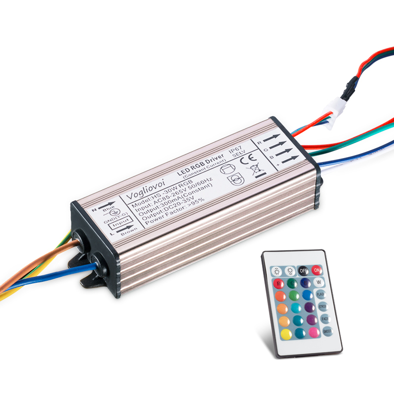 Vogliovoi цветная (RGB) трансформатор 30W 300MA DC20-42V Водонепроницаемый AC85-265V Алюминий адаптер с 24KEY для лампа заливающего света «сделай сам»