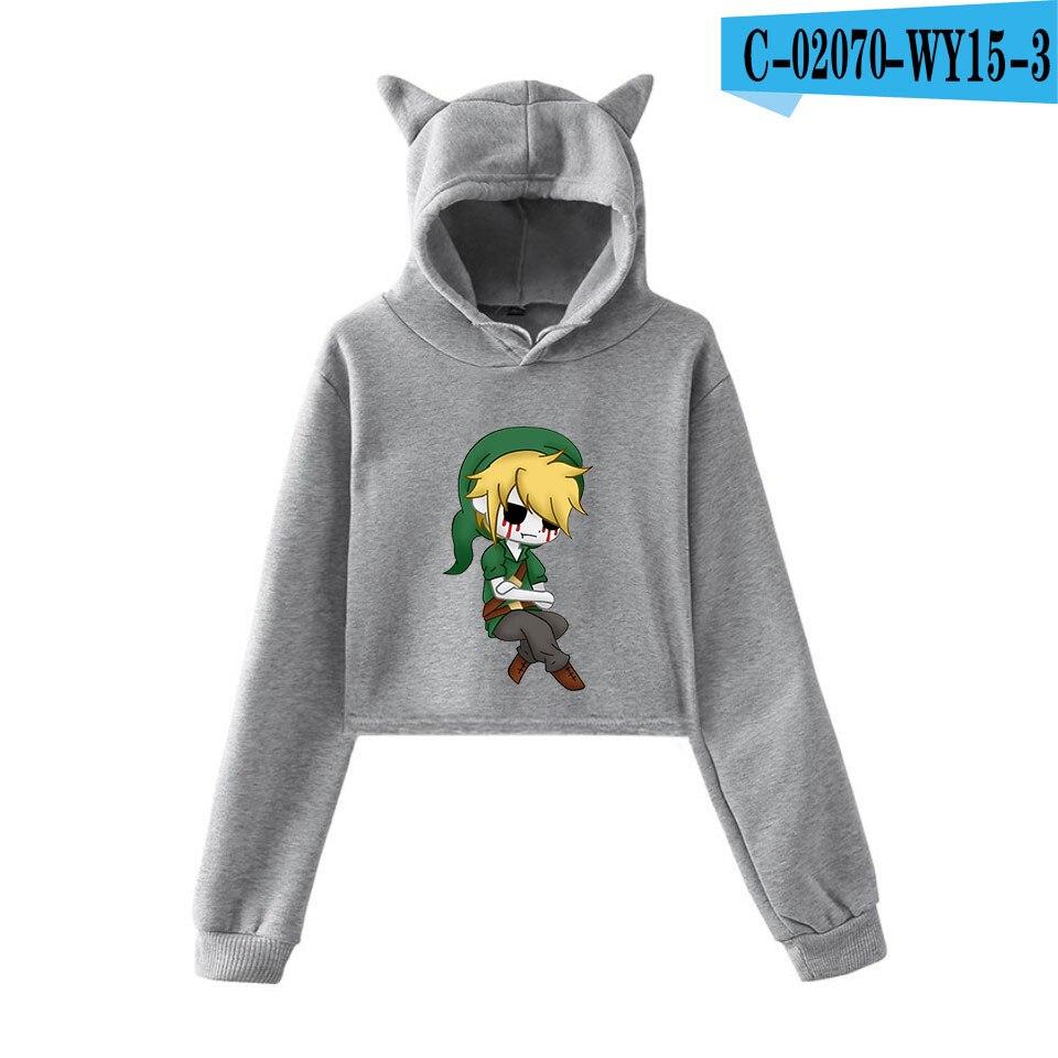 unique horror atmosphere of black humor creepypasta  print fashion trend Cat ears Top Women Hoodies Sweatshirt Sexy clothes 23