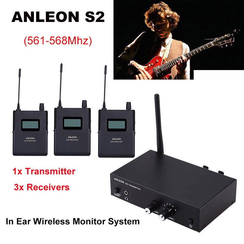 Für ANLEON S2 UHF Stereo <font><b>Wireless</b></font> <font><b>Monitor</b></font> <font><b>System</b></font> 670-680MHZ 4 Frequenzen Professionelle Digitale Bühne <font><b>In</b></font>-ohr <font><b>Monitor</b></font> <font><b>System</b></font> image