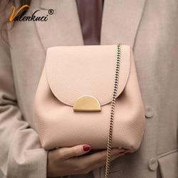 ValenKuci France Popular Bucket Bags Chain Elegant Crossbody Women Fashion Leather Shoulder Bag Small Cross Body Handbags