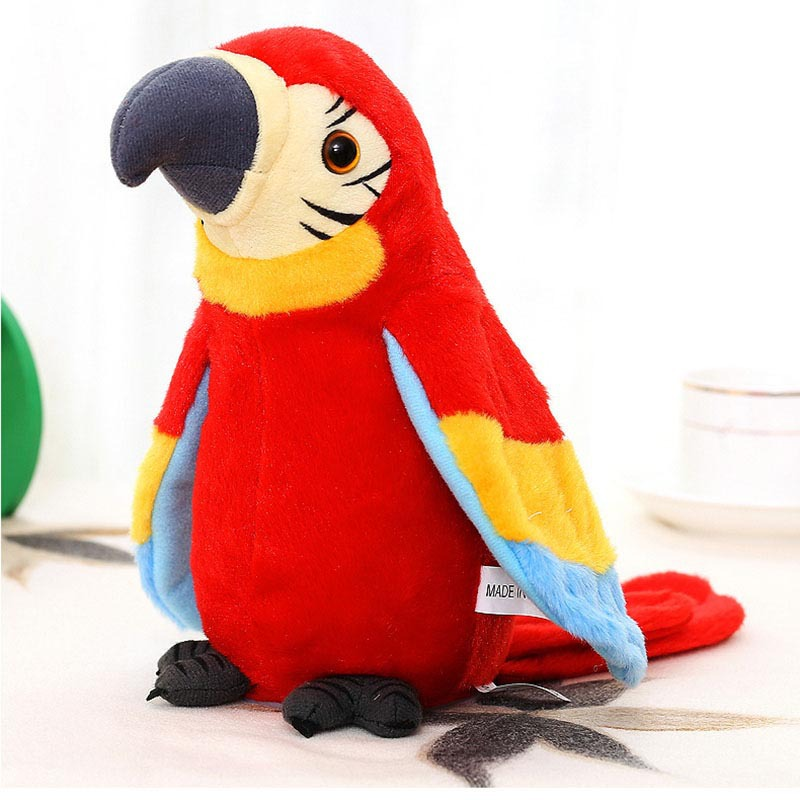 Electric Learning Voice Recording Parrot Plush Toy Voice Control Repeat Bird Wings Will Move Children Electric Play