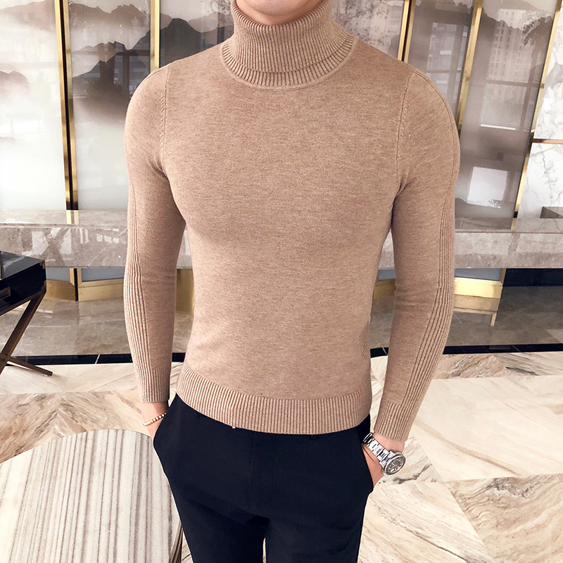 Black Gray Sexy Slim Fit Knitted Pullovers Solid Color Casual Sweaters Knitwear 2019 Autumn New Men's Turtleneck Sweaters Male