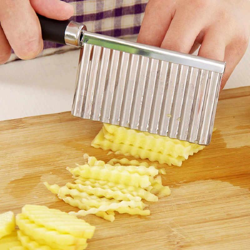 สแตนเลสสตีลมันฝรั่งเครื่องตัดแป้ง Dough ผักผลไม้ Crinkle หยักมีดมันฝรั่งเครื่องตัดทอดฝรั่งเศส Maker ครัว Gadget