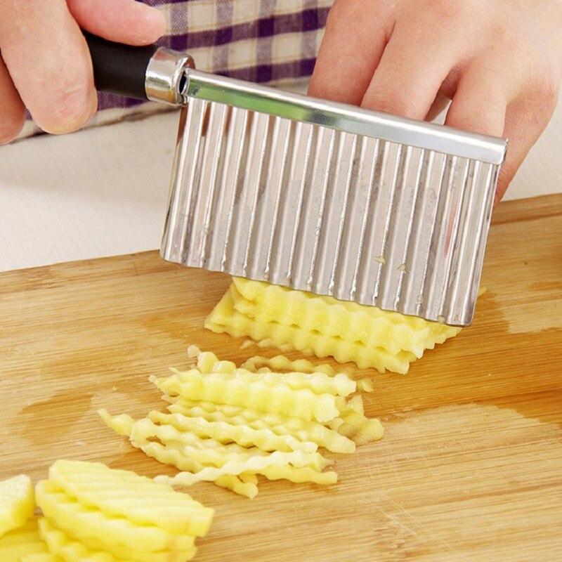 Stainless Steel Potato Chip Slicer Dough Vegetable Fruit Crinkle Wavy Knife Potato Cutter Peeler French Fry Maker Kitchen Gadget