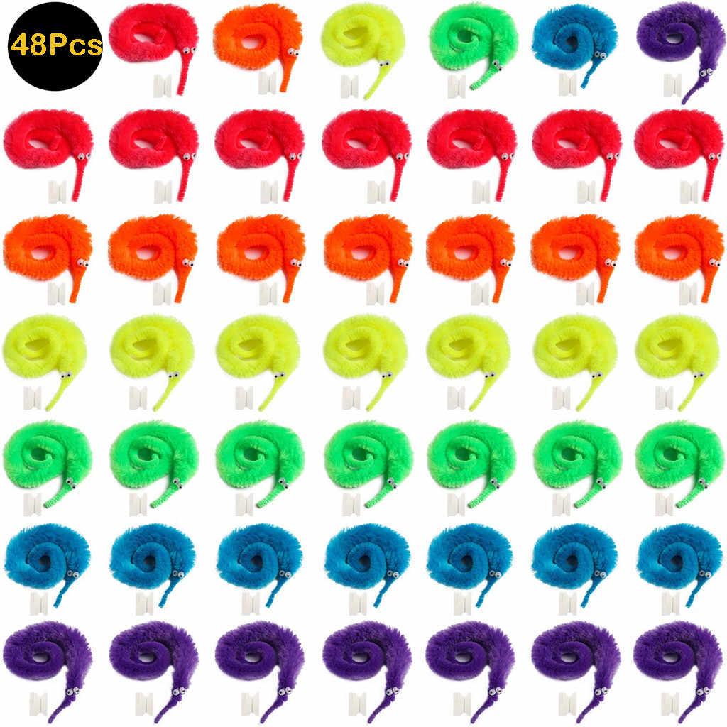 48 ชิ้นสนุกสีสัน Magic ของเล่นน่ารัก Wiggly Fuzzy Worm Magic Worm ของเล่นสำหรับ PARTY Supplies เด็กความคิดสร้างสรรค์ของขวัญ MINI jouet