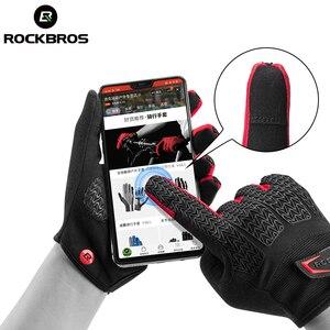 Image 3 - ROCKBROS rüzgar geçirmez bisiklet eldiveni dokunmatik ekran sürme MTB bisiklet bisiklet eldiven termal sıcak motosiklet kış sonbahar bisiklet eldivenleri