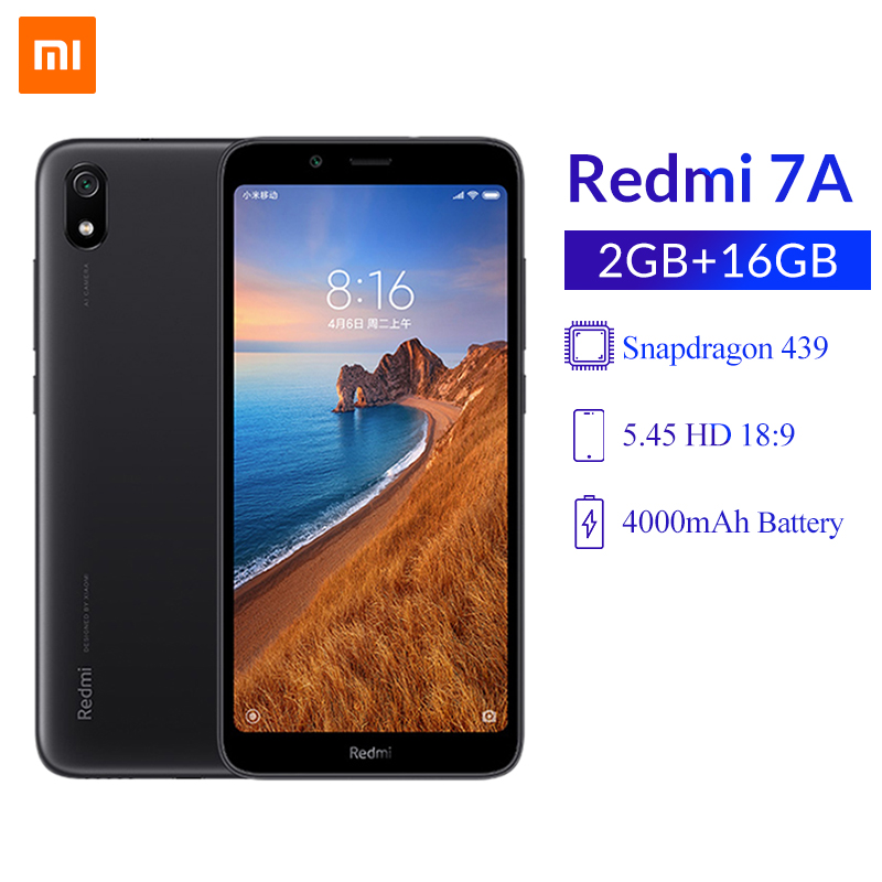 Global Version Xiaomi Redmi 7A 2GB 16GB 5.45inch Smartphone Snapdragon 439 Octa Core 4000mAh Big Battery 12MP 4G Cellphone CE
