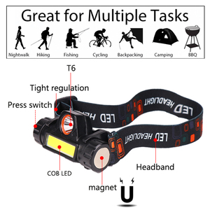 Image 2 - 5000LM Headlamp Portable Powerful LED USB Rechargeable XPE+COB Headlight Built in Battery Waterproof Head Torch Head Lamp