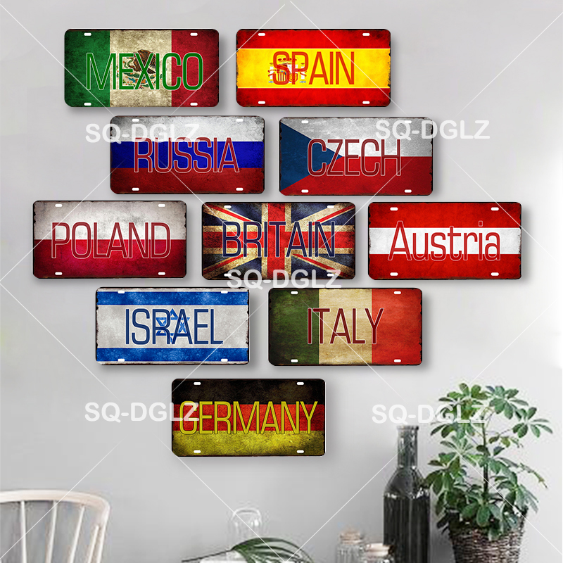 Country Flag+Name License Plate Wall Sign Vintage Decor