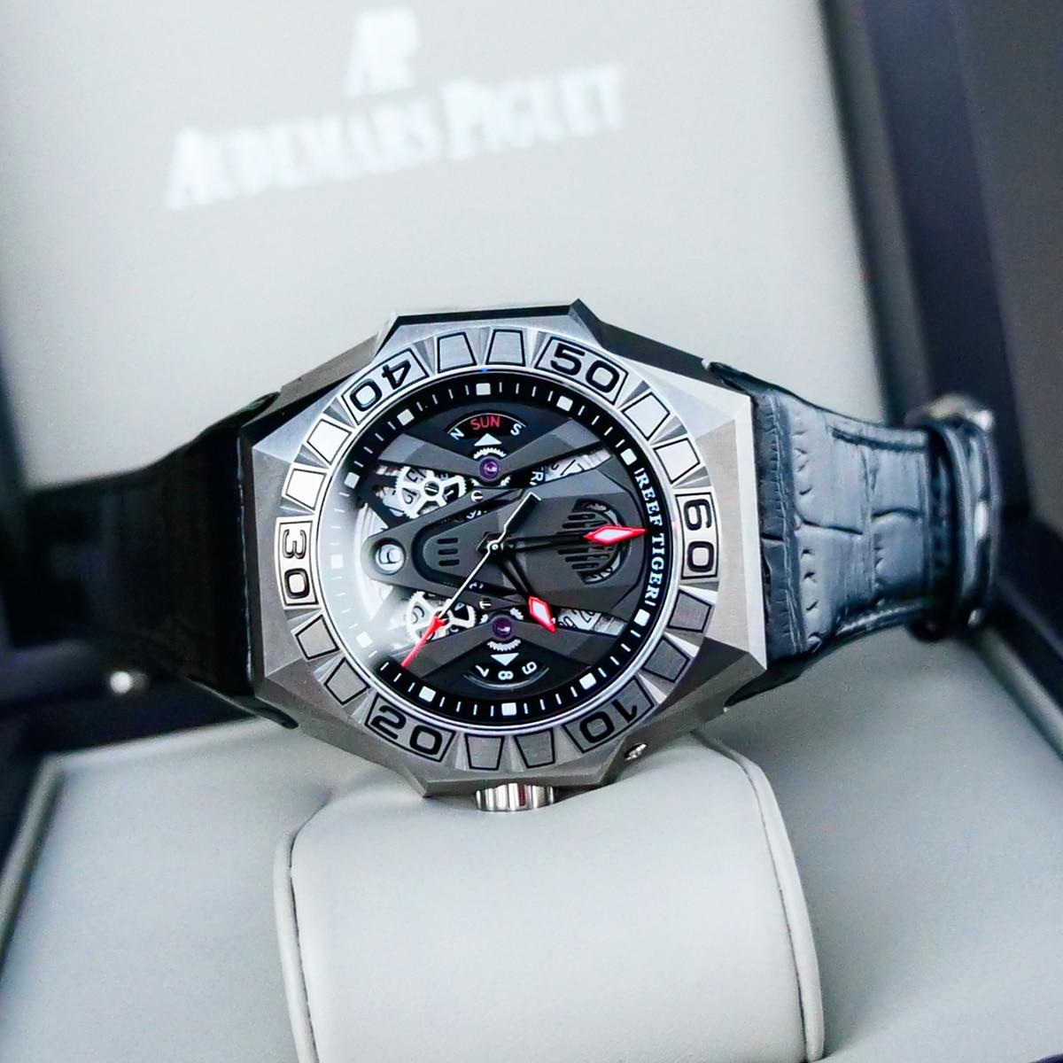 Reef Tiger/RT Top Brand Men Sport Watches Automatic Skeleton Watch Steel Waterproof Leather Strap Relogio Masculino RGA6912 5