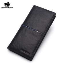 BISON DENIM Genuine Cowhide Clutch Wallet Famous Brand Luxury Male Purse Leather Long Coin Purse Wallet with Card Holder N4437-1
