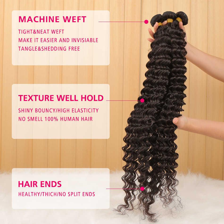 1/3/4 mechones 28 30 32 34 40 pulgadas brasileño de la onda profunda armadura del pelo mechones de cabello rizado mechones 100% del pelo humano de la onda de agua del pelo Remy