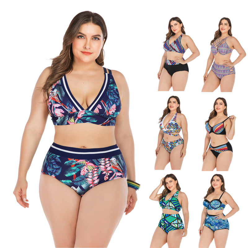 Large Size 4XL Bikini Set Two-piece Swimsuit Female Swimsuit Fat Woman Swimsuit Big Push Up Bikini Ladies 2019 Separate Swimsuit