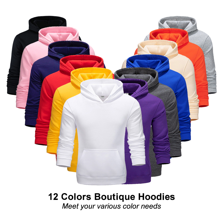 Boutique Men's Hoodies Spring And Autumn Winter Men's Casual Hoodie Sweatshirt Solid Color Men And Women Style Pullover Tops