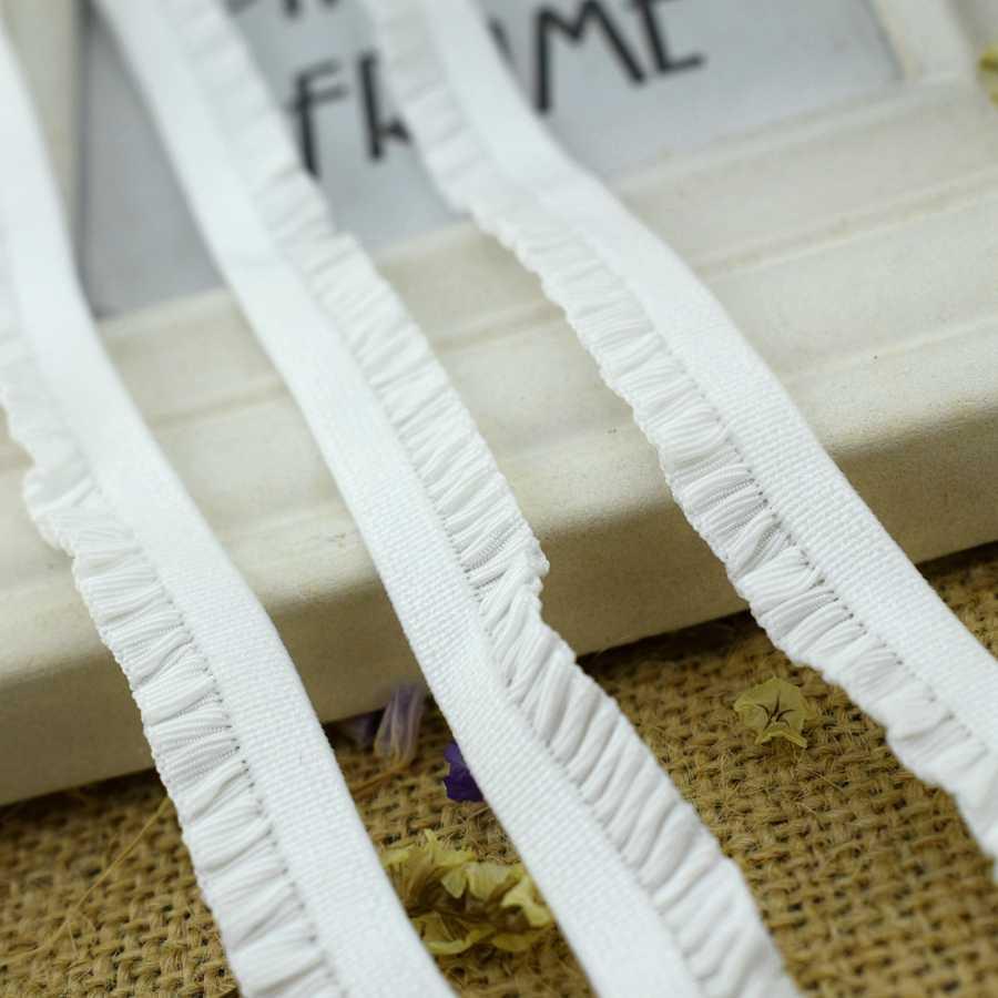#1438 optik beyaz fırfır dantel kumaş 4 metre/lot 11MM elastik Trim şerit kenar grogren kurdele streç