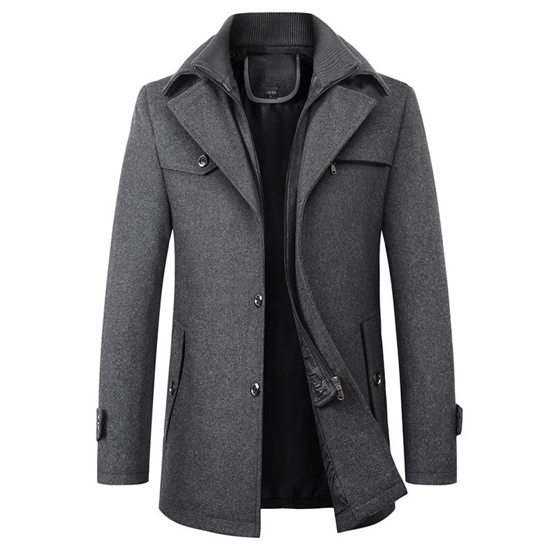 Men's woolen coat Casual Brand Men Blends Coat Autumn Winter New High Quality Solid Color Men's Wool Coat Male Fashion Wool Coat