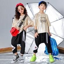 Детская одежда в стиле хип-хоп свободная футболка большого размера штаны-шаровары для девочек и мальчиков, одежда для джазовых танцев комплект костюмов, одежда для бальных танцев