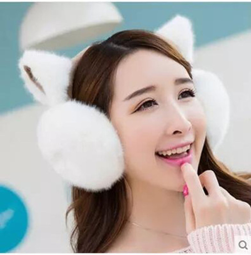 New Cute Ears Plush Warm Earmuffs Comfortable Female Winter Outdoor Protect Ears Accessories