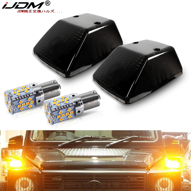 IJDM Front Turn Signal Light Covers W/ Super Bright 7507 Error Free LED Bulbs For 1986-2018 Mercedes W463 G-Class G500 G550 G55