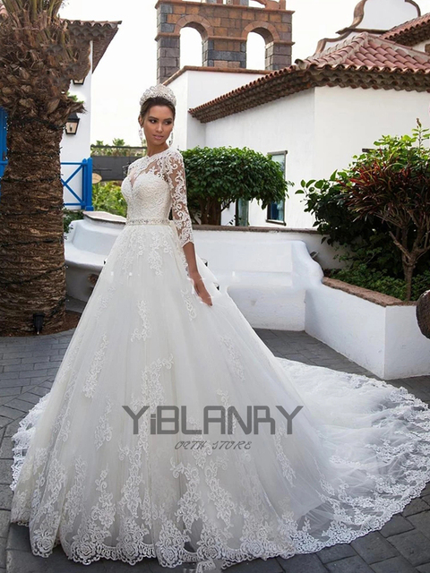 Luxury Wedding Dress Lace Beading With Princess Ball Gown O-neck Full Sleeve Bride Gowns Sashes Bow Lace Up Robes De Mariée 4