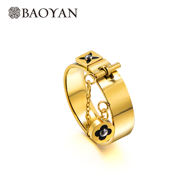 Baoyan Fashion Clover Flower Ring Love Gothic Promise Wedding Engagement Ring Gold/Sliver Stainless Steel Finger Rings For Women